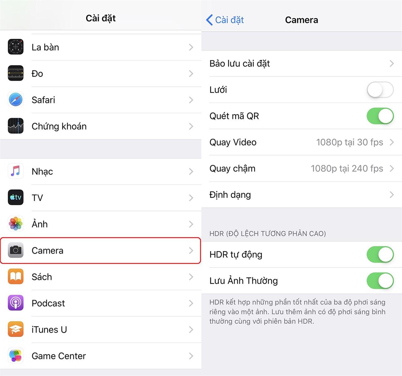 Cài đặt HDR trên iPhone