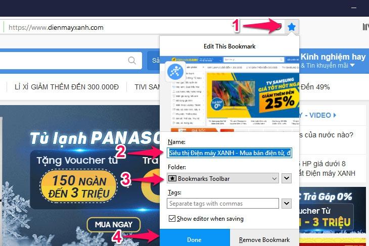Cách sử dụng bookmark trên trình duyệt Firefox