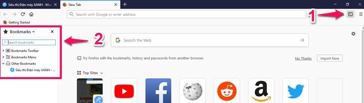 Chọn biểu tượng hình chữ nhật để mở Bookmark trên Firefox